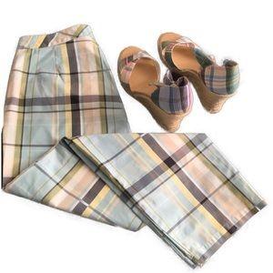 Pants - Aqua Olive Gray Multi Plaid Madras Capri Pants